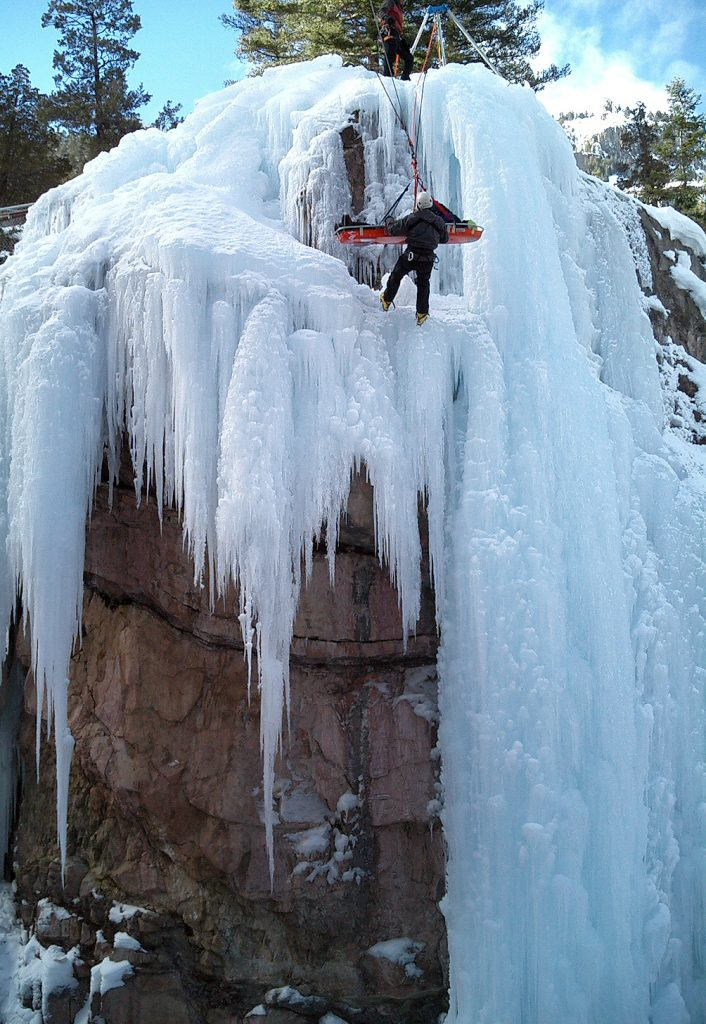 Waterfall ice climbing and rescue workshop