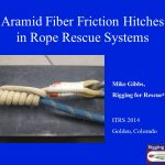 1.Over the course of a couple of years, we conducted numerous tests using aramid fiber friction hitches in conjunction with a variety of host ropes. The examinations were a combination of slow pull as well as drop testing. Our findings were presented at the ITRS conference in Golden, CO in November 2014.