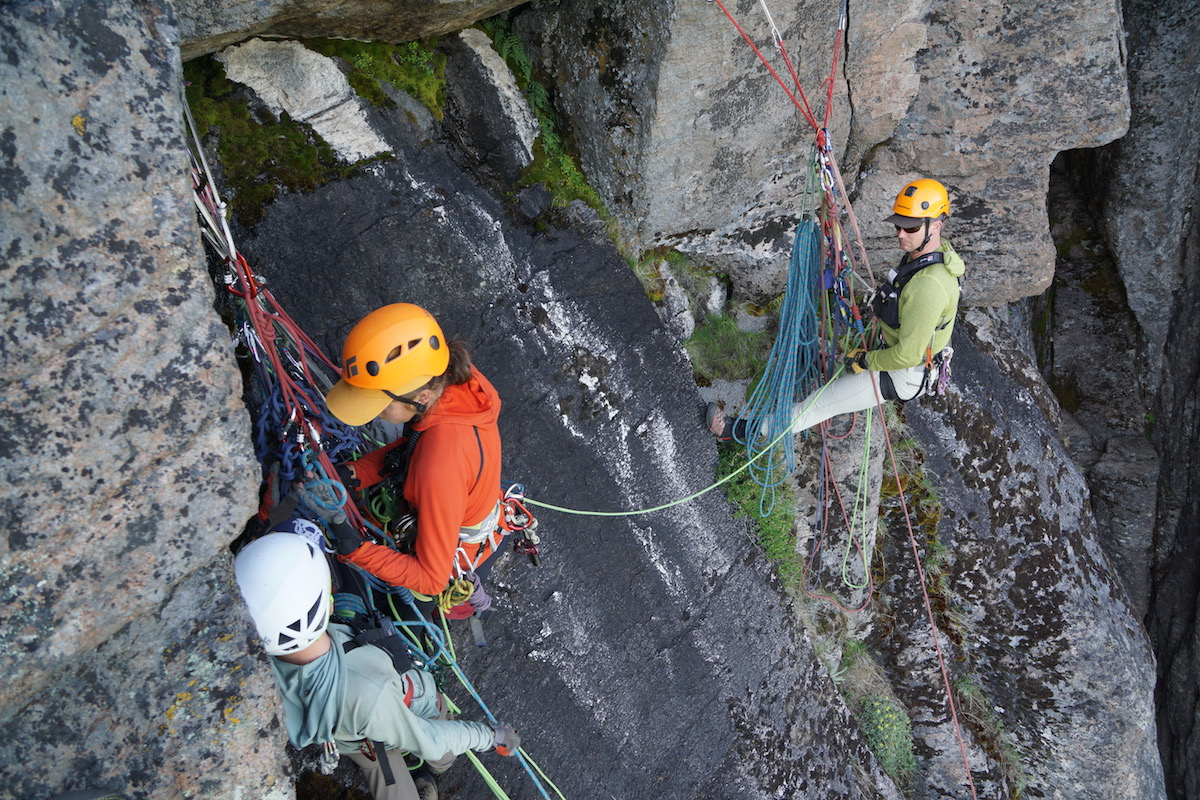 Hanging belay at Cougar Buttress